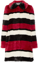 Alice + Olivia Kinsley Oversized Striped Faux Fur Coat - Claret