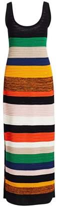 Akris Punto Stripe Cotton Crochet Dress