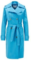 HUGO BOSS - Throw Over Style Trench Coat In Water Repellent Twill - Blue