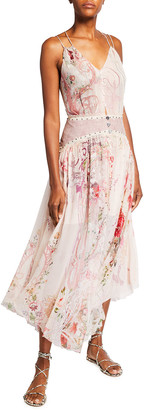 Camilla Silk Strappy Dress with Shaped Waistband