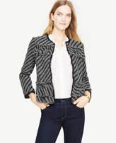 Ann Taylor Ruffle Tweed Diagonal Stripe Jacket