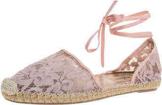 Valentino Pink Floral Lace Ankle Wrap Espadrille Flats Size 41