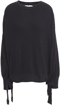 7 For All Mankind Oversized Draped Ribbed Cotton And Wool-blend Sweater