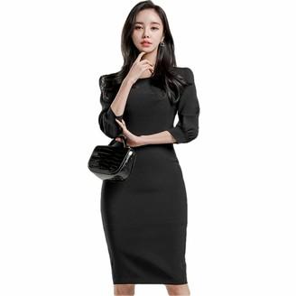 QPXZ Printed Maxi Skirt High Waist Tight Office Lady Dress Simple Temperament Half Sleeve Lace Decoration On Back Women Party Black Dress-A_XL