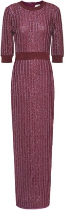 Herve Leger Distressed Metallic Ribbed Crochet-knit Maxi Dress