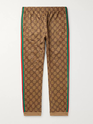 Gucci Webbing-Trimmed Logo-Print Jersey Track Pants