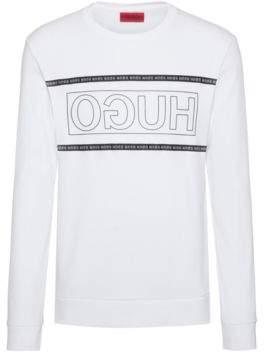 HUGO Reverse-logo sweatshirt in interlock cotton