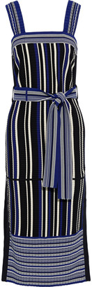 3.1 Phillip Lim Belted Striped Ribbed-knit Midi Dress