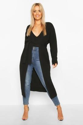 boohoo Plus Longline Knitted Maxi Cardigan