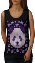 Panda Star Cute Animal Star Teddy Women L Tank Top | Wellcoda