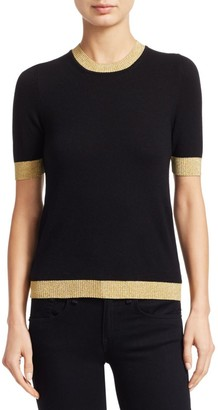 Gucci Short Sleeve Cashmere & Silk Knit Tee