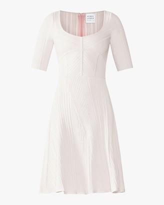 Herve Leger Rib Knit Flare Dress