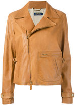 Polo Ralph Lauren zip up jacket - women - Cotton/Calf Leather/Cupro - M