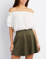 Charlotte Russe Smoked Ruffle-Trim Off-The-Shoulder Top