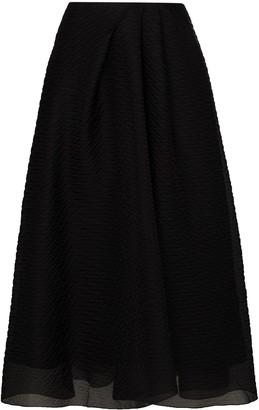 Roland Mouret Mulligan layered silk midi skirt