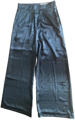 Saint Laurent Green Silk Trousers for Women