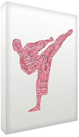 Camilla And Marc Feel Good Art Gallery Wrapped Box Canvas in Typographic Karate Design (40 x 30 x 4 cm, Medium, Red Tones)