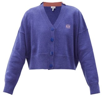Loewe Anagram-embroidered Wool Cardigan - Blue