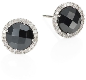 Meira T Diamond, Hematite & 14K White Gold Stud Earrings