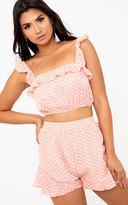 PrettyLittleThing Pink Polkadot Print Ruffle Strap Crop Top
