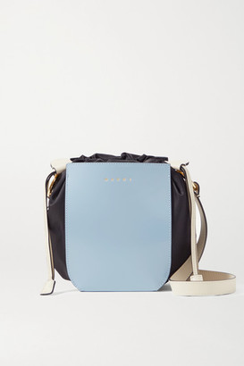 Marni Gusset Small Patent-leather And Shell Shoulder Bag - Light blue