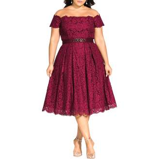 City Chic Women's Apparel Women's Plus Size Bardot Dress with lace Detail and Beaded Belt