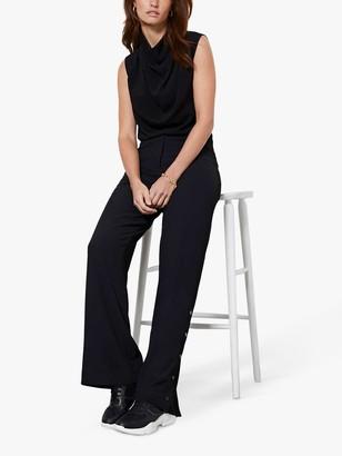 Mint Velvet Split Side Wide Leg Trousers, Black