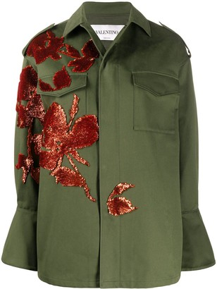 Valentino Floral-Embroidery Military Jacket