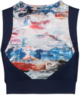 Lucas Hugh Nordica cropped printed stretch-jersey top