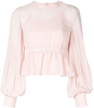CK Calvin Klein Pleated Ruffle Blouse