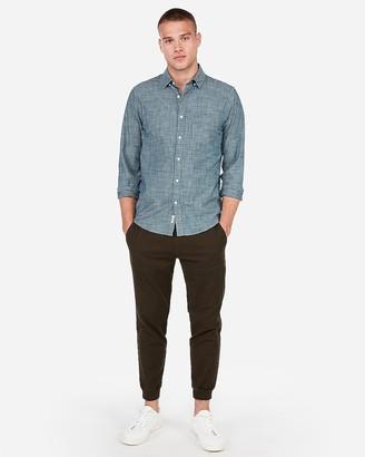 Express Slim Chambray Soft Wash Button-Down Shirt
