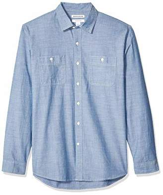 Amazon Essentials Men's Standard Regular-Fit Long-Sleeve Chambray Shirt