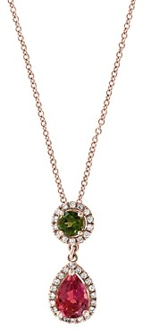 Bloomingdale's Multicolor Tourmaline & Diamond Pendant Necklace in 14K Rose Gold, 18 - 100% Exclusive