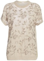 Brunello Cucinelli Linen-Blend Floral Embellished Cap-Sleeve Top