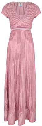 M Missoni Pink metallic-knit maxi dress