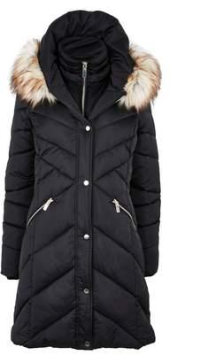 Wallis Black Padded Faux Fur Collar Coat