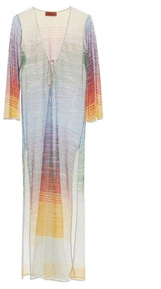 Missoni Mare Lace-up V-neck Striped Lame-jacquard Kaftan - Multi
