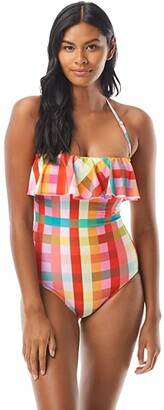 Kate Spade Garden Plaid Ruffle Bandeau One-Piece w/ Underwire and Removable Straps (Multi) Women's Swimsuits One Piece