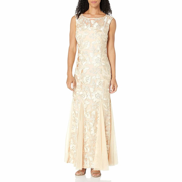 Alex Evenings Women's Long Fit and Flare Dress Godet Detail (Petite and Regular)