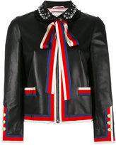 Gucci embellished bow tie jacket - women - Lamb Skin/viscose/Cotton/Viscose - 40