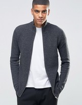 Selected Ribbed Zipped Cardigan