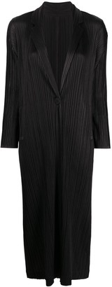 Pleats Please Issey Miyake Pleated Long Line Jacket