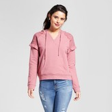Xhilaration Women's Ruffle Sleeve Hooded Sweatshirt Juniors')