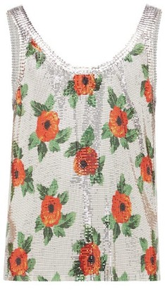 Paco Rabanne Poppy-print Chainmail Tank Top - Mens - Silver