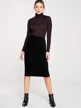 Whistles Velvet Jersey Tube Skirt - Black