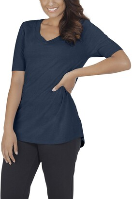 Fruit of the Loom Womens Essentials All Day Elbow Length V-Neck T-Shirt
