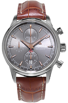 Alpina Al-750vg4e6 Chronograph Leather Strap Watch, Tan/grey