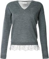 ESTNATION v-neck lace trimmed sweater