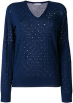 Sonia Rykiel elbow patch embroidered cutout detailed sweater