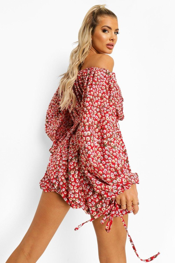 Thumbnail for your product : boohoo Off The Shoulder Pocket Detail Mini Dress